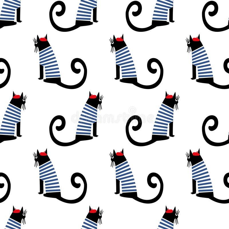 Het Franse naadloze patroon van de stijlkat Leuk beeldverhaal die Parijse katten vectorillustratie zitten royalty-vrije illustratie