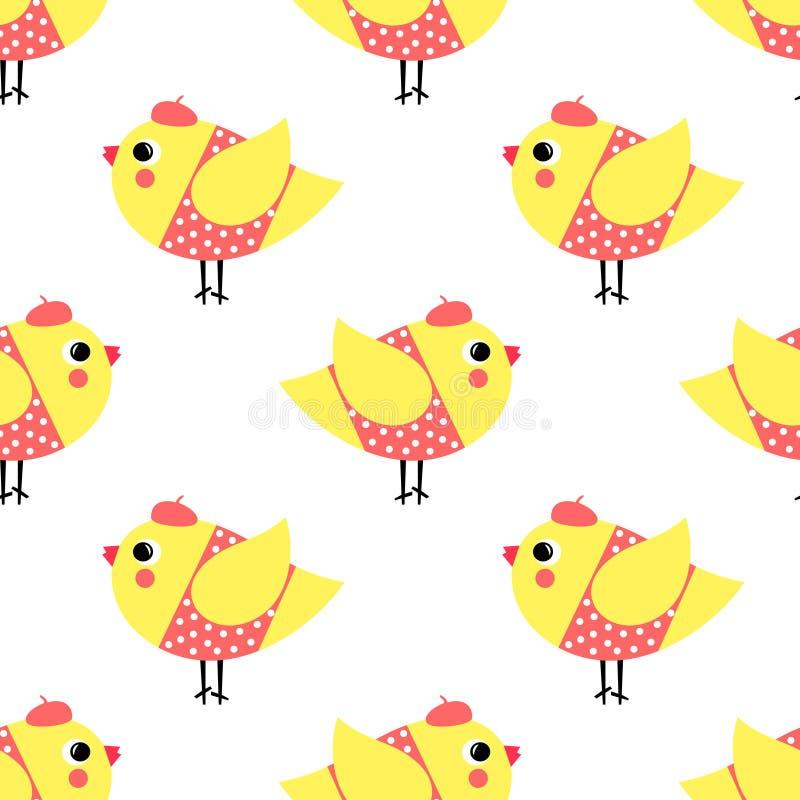 Het Franse naadloze patroon van stijlkuikens op witte achtergrond Leuke de vogels vectorillustratie van beeldverhaalmeisjes royalty-vrije illustratie