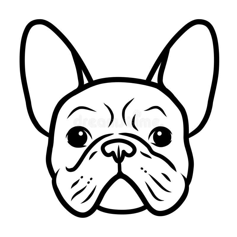 Het Franse portret van het buldog zwart-witte hand getrokken beeldverhaal Het grappige leuke gezicht van het buldogpuppy Honden,  royalty-vrije illustratie