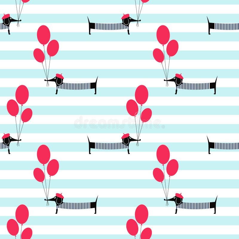 Het Franse van de holdingsballons van de stijlhond naadloze patroon op gestreepte achtergrond royalty-vrije illustratie