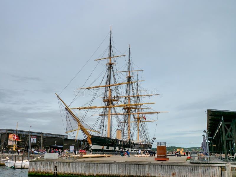 Het fregat oud oorlogsschip van Fregattenjylland in Ebeltoft, Denemarken royalty-vrije stock afbeeldingen