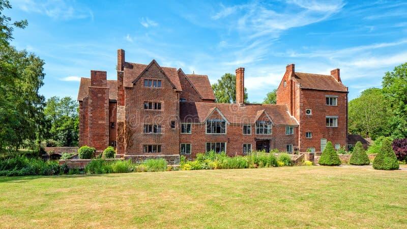 Het front van Harvington-Zaal, Worcestershire, Engeland stock foto