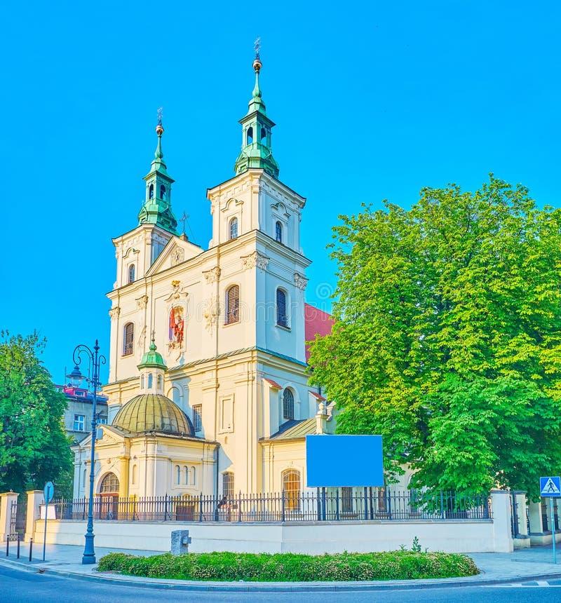 Het front van St Florian Basilica, Krakau, Polen royalty-vrije stock foto's