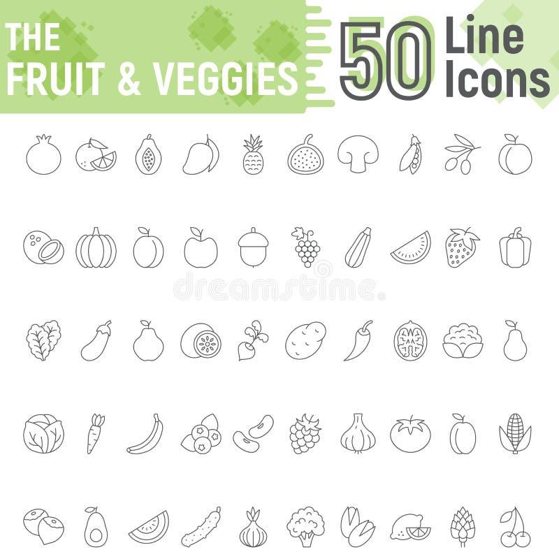 Het fruit en de Groenten verdunnen de reeks van het lijnpictogram, veganist royalty-vrije illustratie