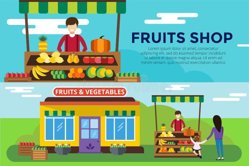 Het fruit en de groenten winkelen de tegen vectorbouw royalty-vrije illustratie