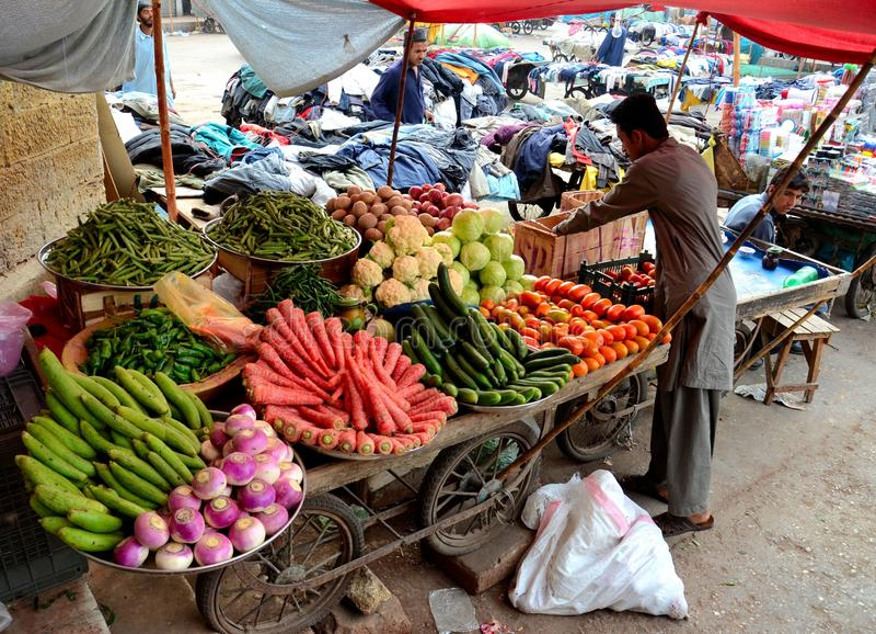 Het fruit en de plantaardige verkoper neigen aan zijn kar buiten Keizerinmarkt Pakistan Van karachi royalty-vrije stock foto's