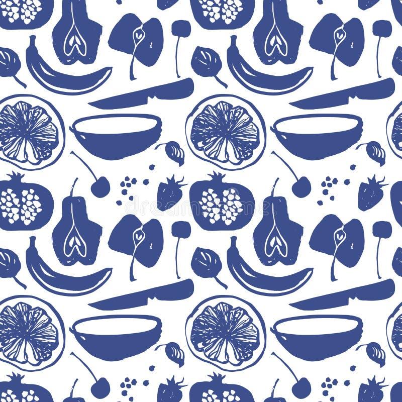 Het fruit silhouetteert patroon in blauwe kleur stock illustratie