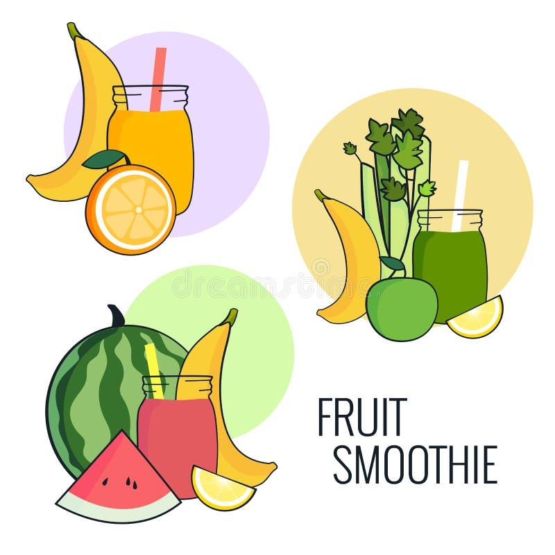 Het fruit smoothie plaatste Banaan, appel, selderie, citroen en watermeloenschok Vers drankmenu, Sap voor het gezonde leven stock illustratie