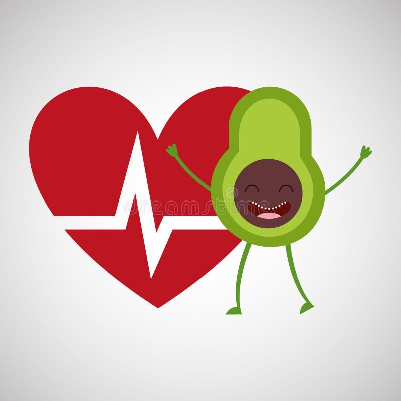 Het fruit van de beeldverhaal heartrate avocado royalty-vrije illustratie