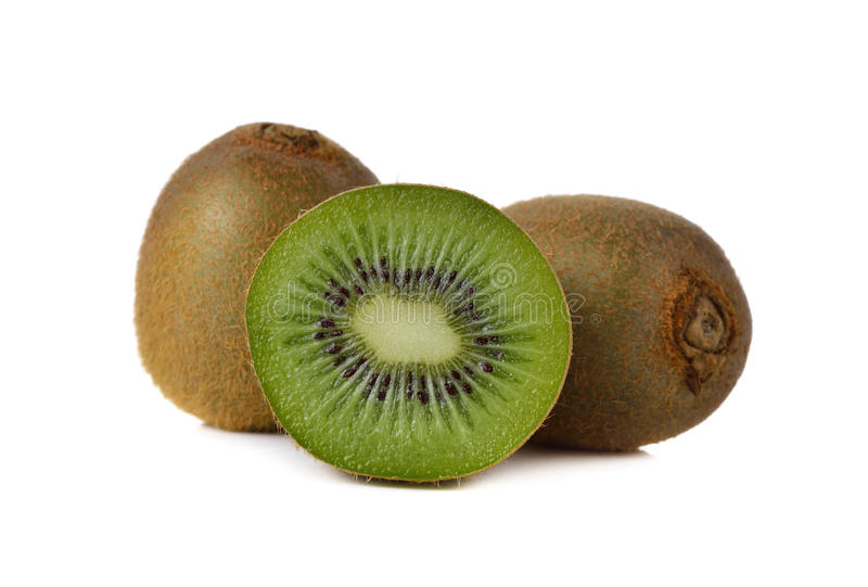 Het fruit van de close-upkiwi op wit stock fotografie