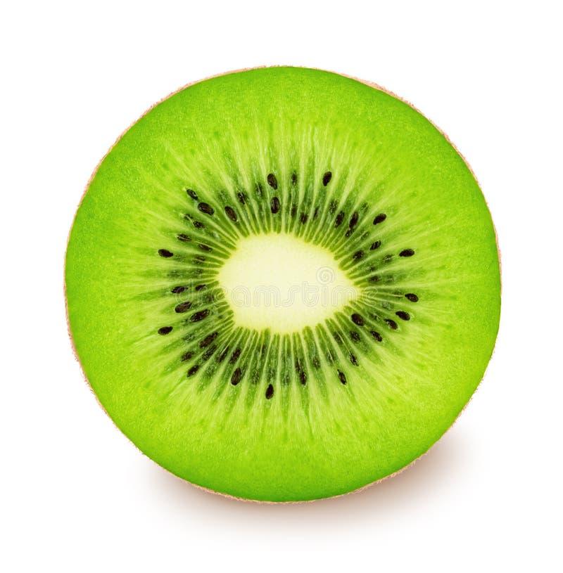 Het fruit van de Cuttedkiwi op een wit wordt geïsoleerd dat stock afbeeldingen