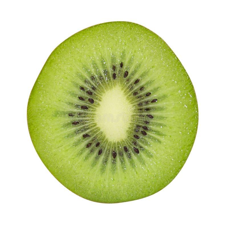 Het fruit van de dwarsdoorsnedekiwi op witte achtergrond, het knippen wordt geïsoleerd die stock fotografie