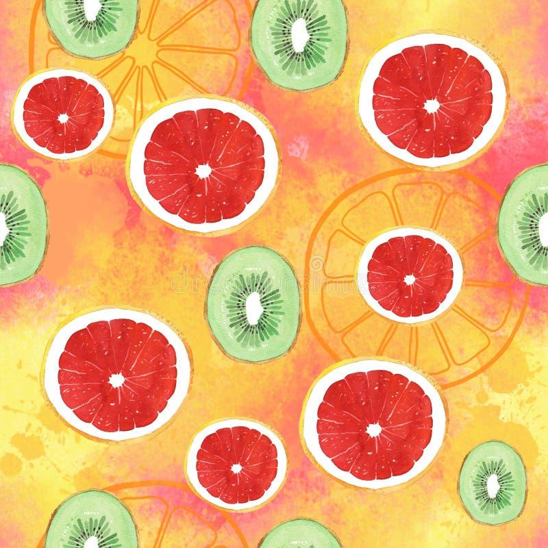 Het fruit van het de kiwipatroon van de waterverfgrapefruit op kleurenachtergrond stock illustratie