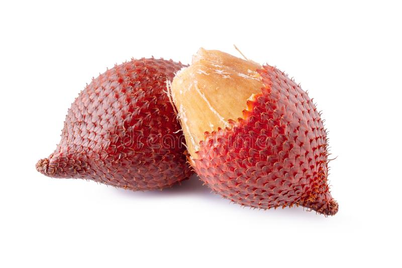 Het fruit van de Salakslang over witte achtergrond wordt ge?soleerd die royalty-vrije stock afbeeldingen