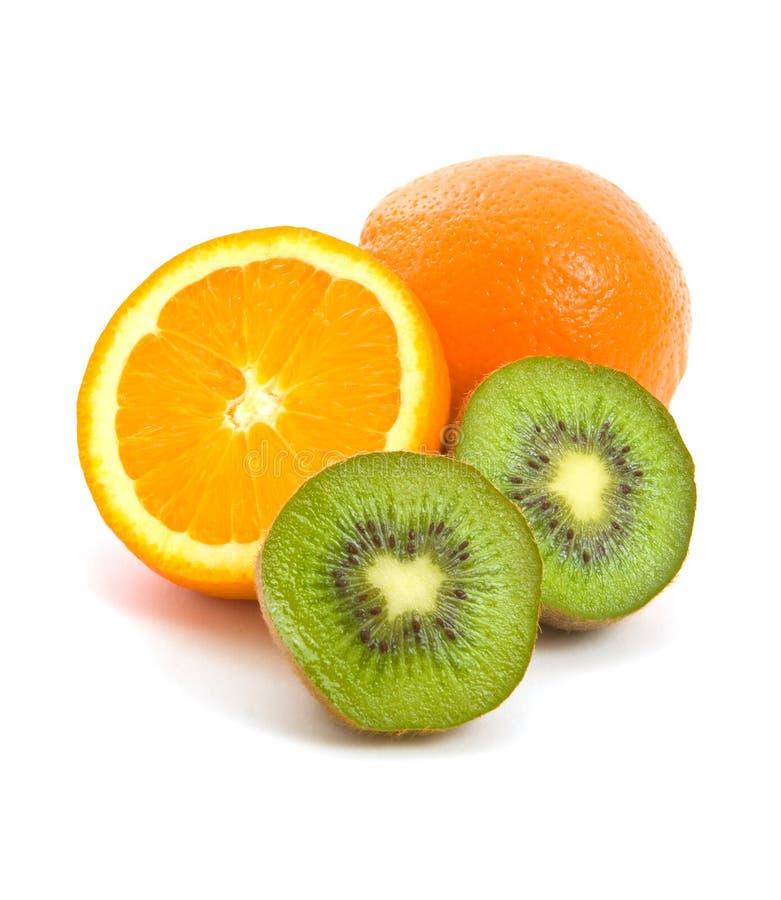 Het Fruit van de sinaasappel en van de Kiwi royalty-vrije stock fotografie