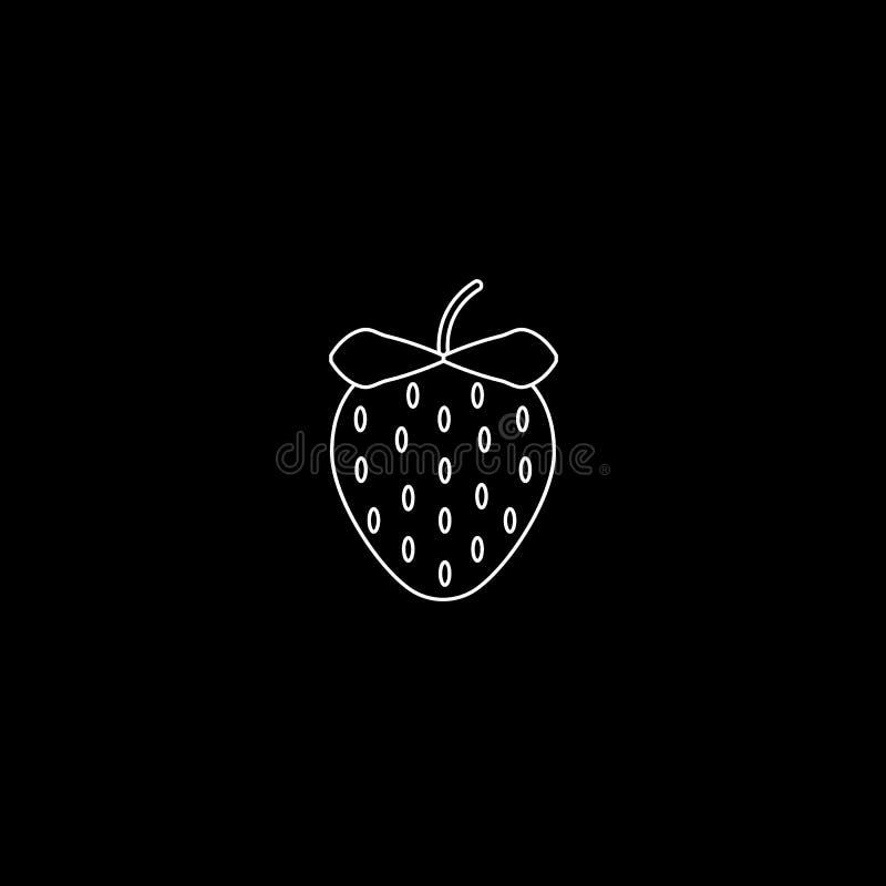 Het fruit van de tuinaardbei of van de aardbeienlijn kunst vectorpictogram voor voedsel apps en websites Wit op Zwarte stock illustratie