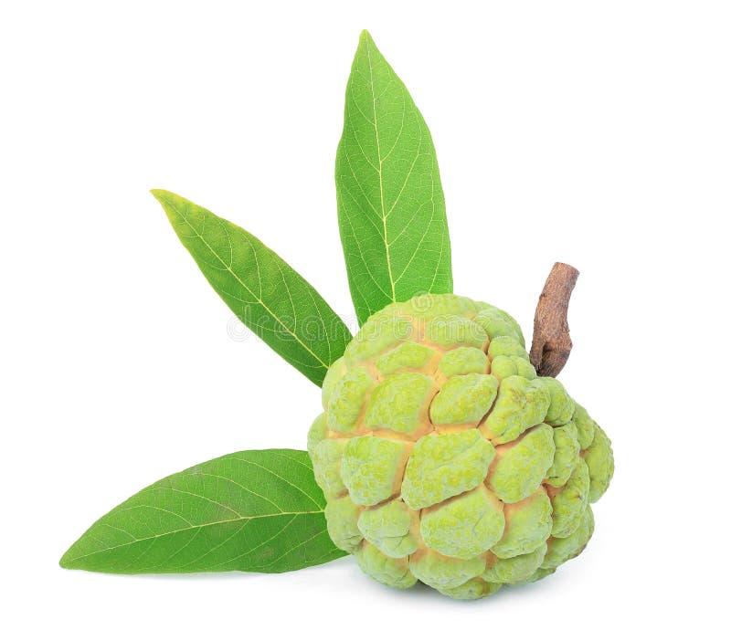 Het fruit van de vlaappel met blad op wit wordt geïsoleerd dat stock fotografie