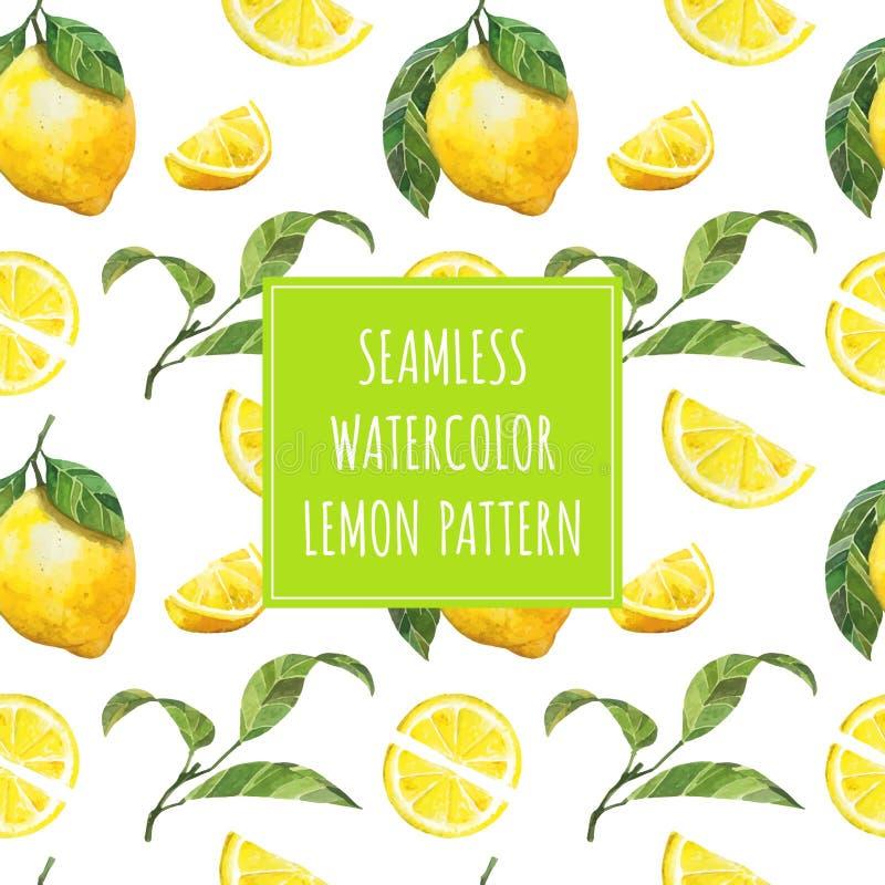 Het fruit vectorpatroon van de waterverfcitroen stock illustratie