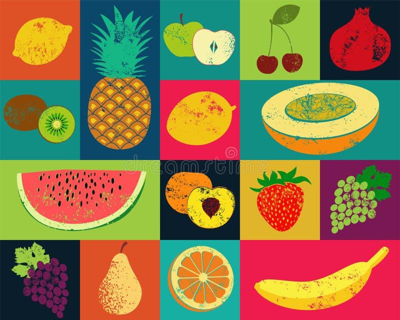 Het fruitaffiche van de pop-art grunge stijl Inzameling van retro vruchten Uitstekende vectorreeks vruchten vector illustratie