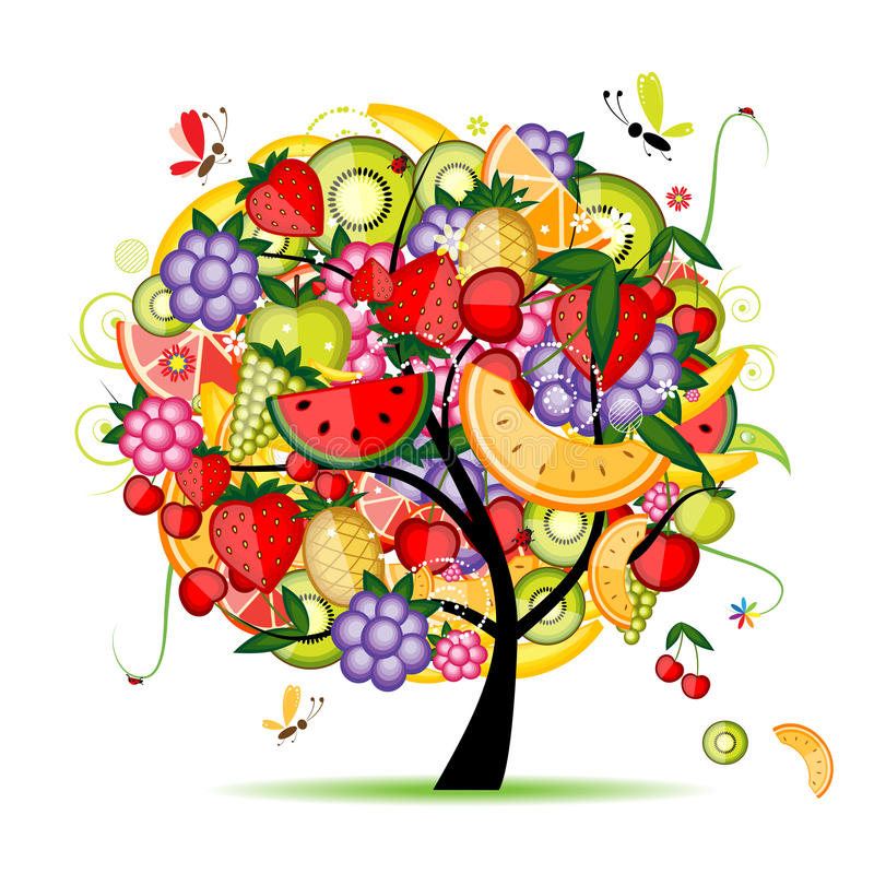 Het fruitboom van de energie voor uw ontwerp stock illustratie