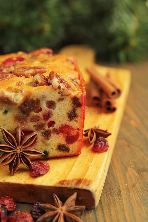 Het fruitcake van Kerstmis royalty-vrije stock afbeeldingen