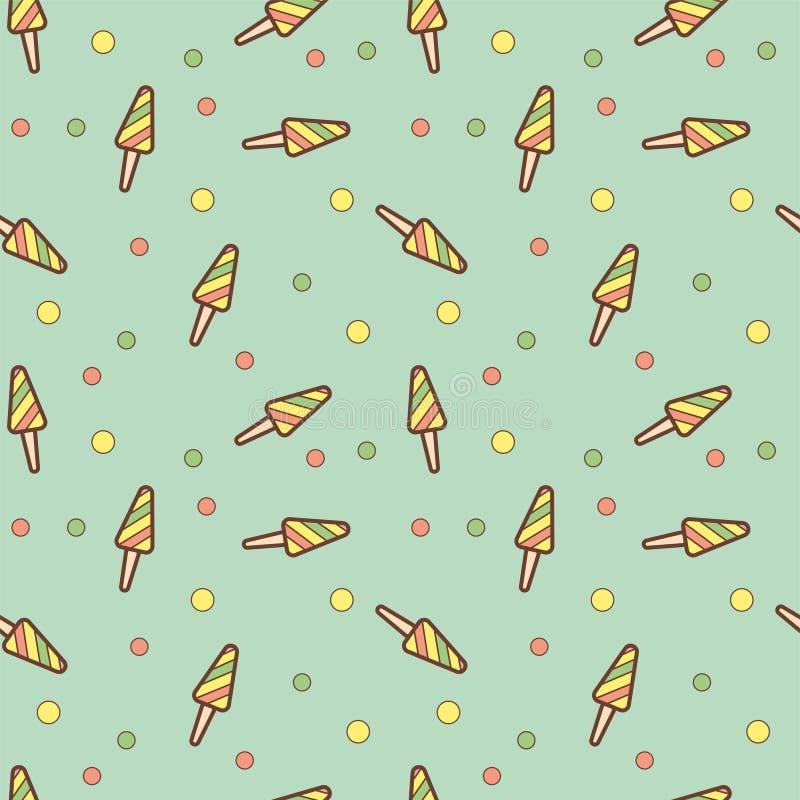 Het fruitijs van het krabbelroomijs op een stok met strepen naadloos patroon Groot voor yummy de muurkunst van het de zomerdesser stock illustratie