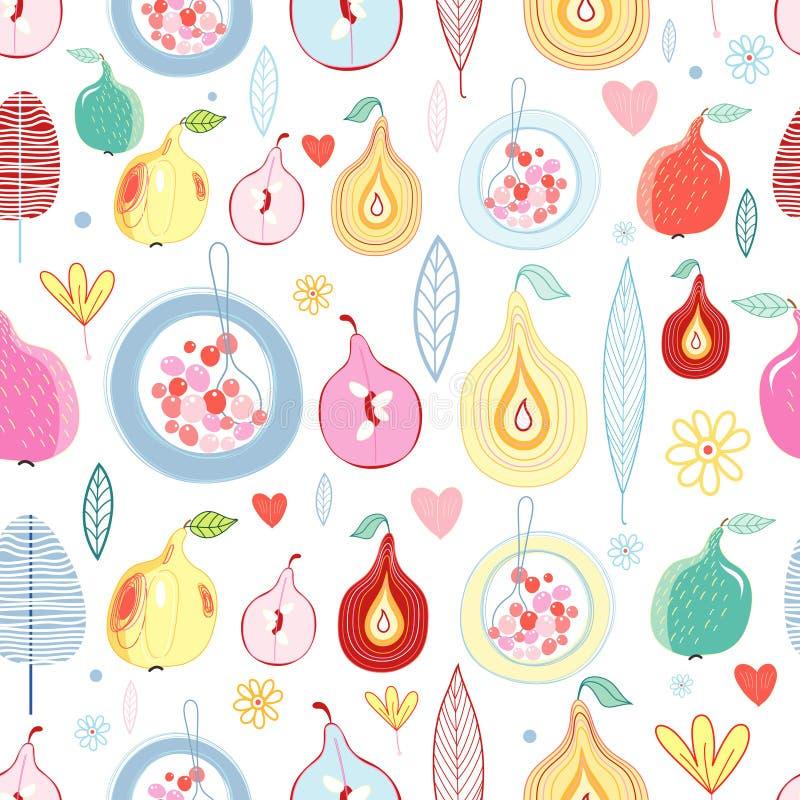 Het fruitpatroon van de herfst royalty-vrije illustratie
