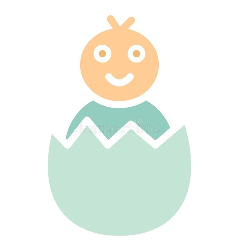 Het fundamentele Gebroken ei, kuiken isoleerde Vectorpictogram dat zich gemakkelijk kan wijzigen of uitgeven stock illustratie