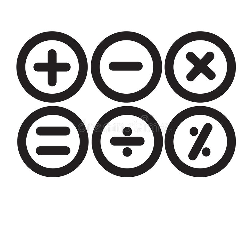 Het fundamentele wiskundige vector geïsoleerde teken en het symbool van het symbolenpictogram royalty-vrije illustratie