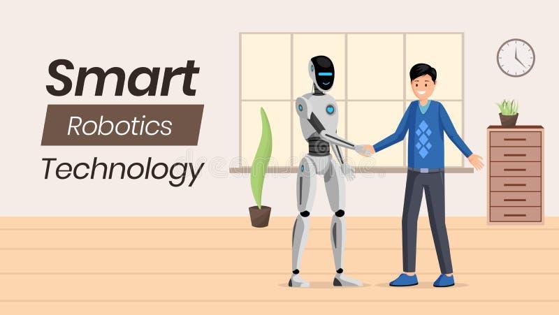 Het futuristische ai malplaatje van de technologie vectorbanner Jonge mens en humanoidkarakters van robot de schuddende handen ku vector illustratie