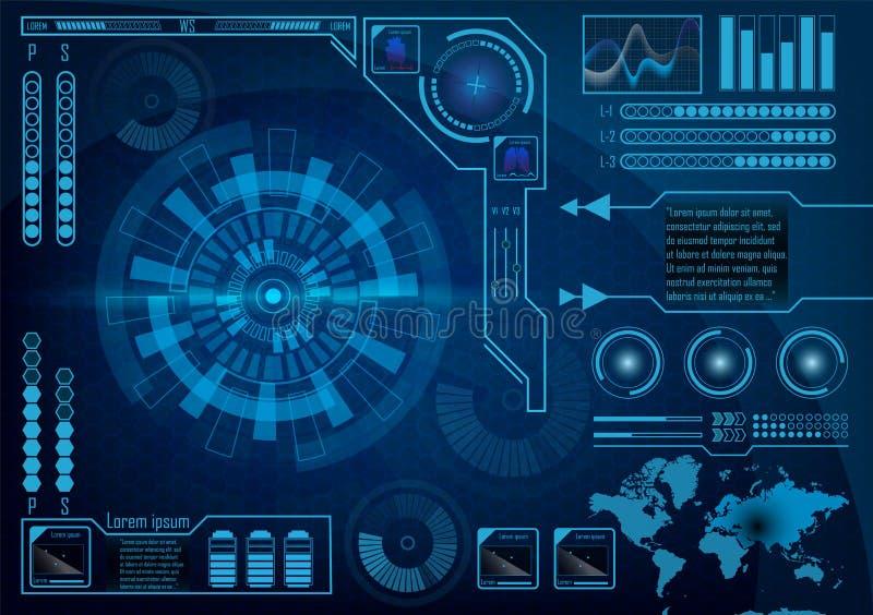 Het futuristische gebruikersinterface van het radarscherm HUD Vectoreps 10 stock illustratie