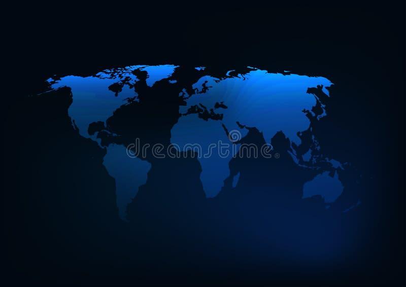 Het futuristische gloeiende donkerblauwe silhouet van de wereldkaart royalty-vrije illustratie