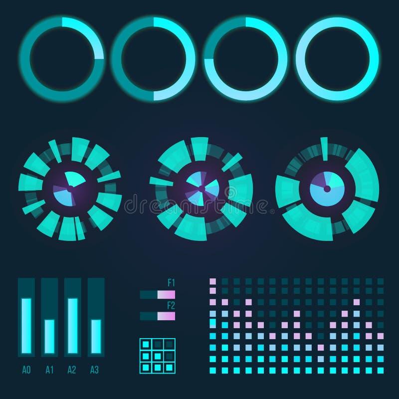 Het futuristische grafische infographic spel en ui ux de elementen van de interface ruimtemotie hud ontwerpen de barhologram van  stock illustratie