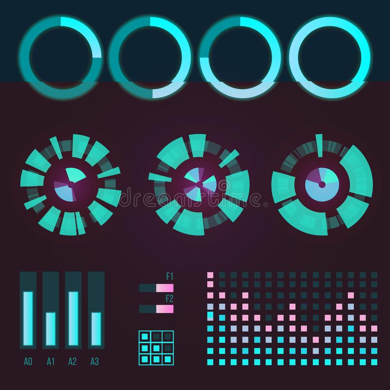 Het futuristische grafische infographic spel en ui ux de elementen van de interface ruimtemotie hud ontwerpen de vector van het d royalty-vrije illustratie