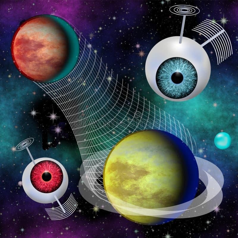 Het futuristische Interplanetaire communicatienetwerk van het Fantasiebeeld stock illustratie