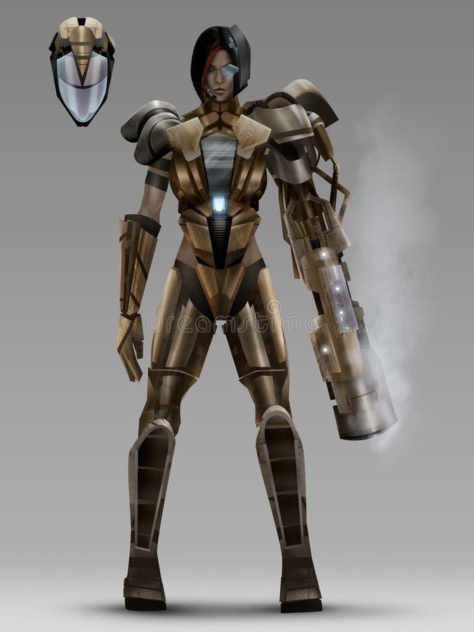 Het futuristische kostuum van het vrouwen cyber pantser royalty-vrije illustratie