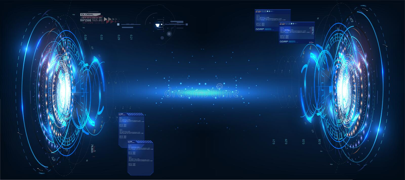 Het futuristische ontwerp van het de interfacescherm van cirkel vectorhud Abstracte stijl op blauwe achtergrond Abstracte vectora stock illustratie