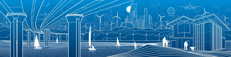 Het futuristische Stadsleven Infrastructuurpanorama Industriële illustratie Grote automobiele brug Mensen op de rivierbank modern vector illustratie