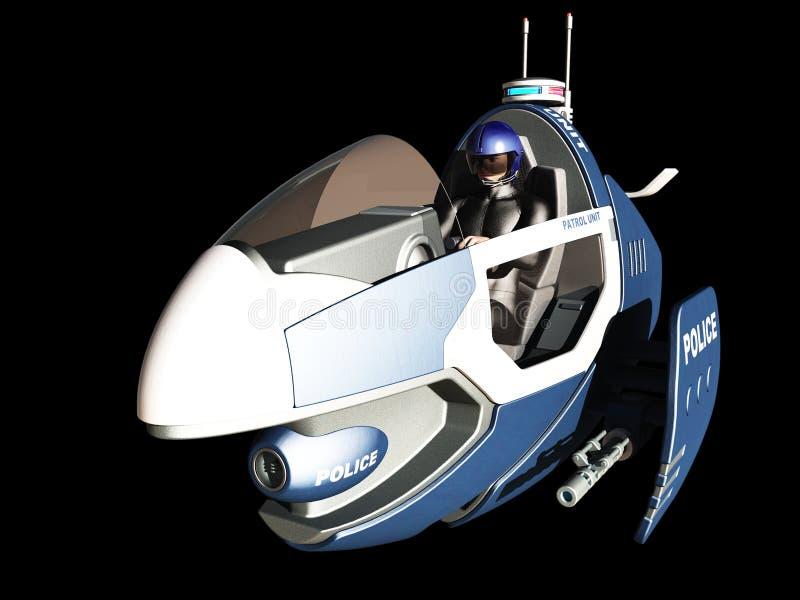 Het futuristische voertuig van de politiepatrouille stock illustratie