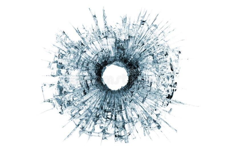 Het gat van de kogel in glas dat op wit wordt geïsoleerdg stock fotografie