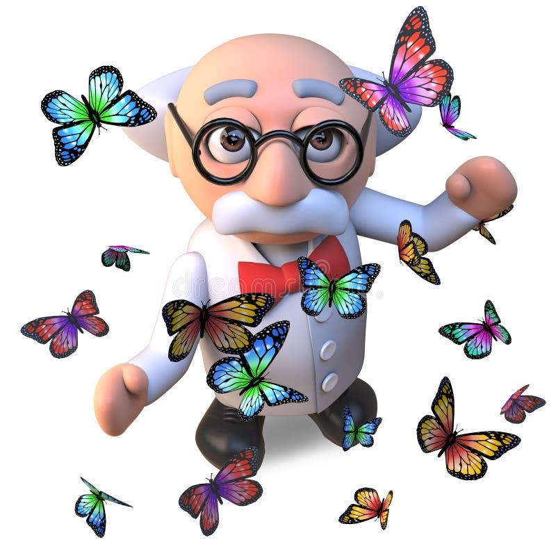 Het geïntrigeerde gekke die karakter van de wetenschapperprofessor door mooie vlinders, 3d illustratie wordt omringd stock illustratie