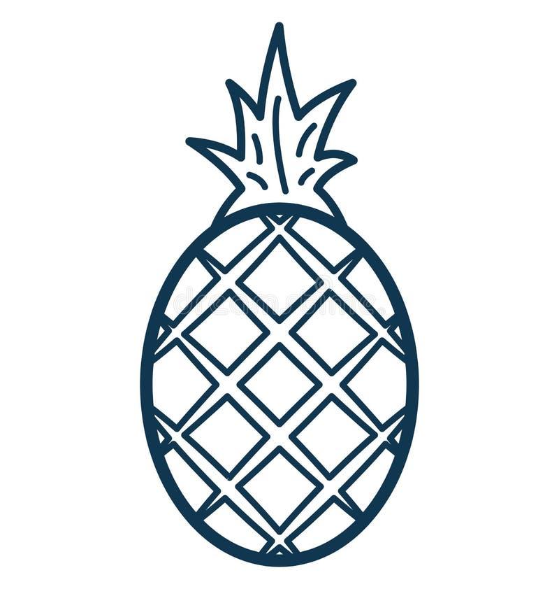 Het Geïsoleerde aangepast en editable Pictogram van de ananaslijn Vector vector illustratie