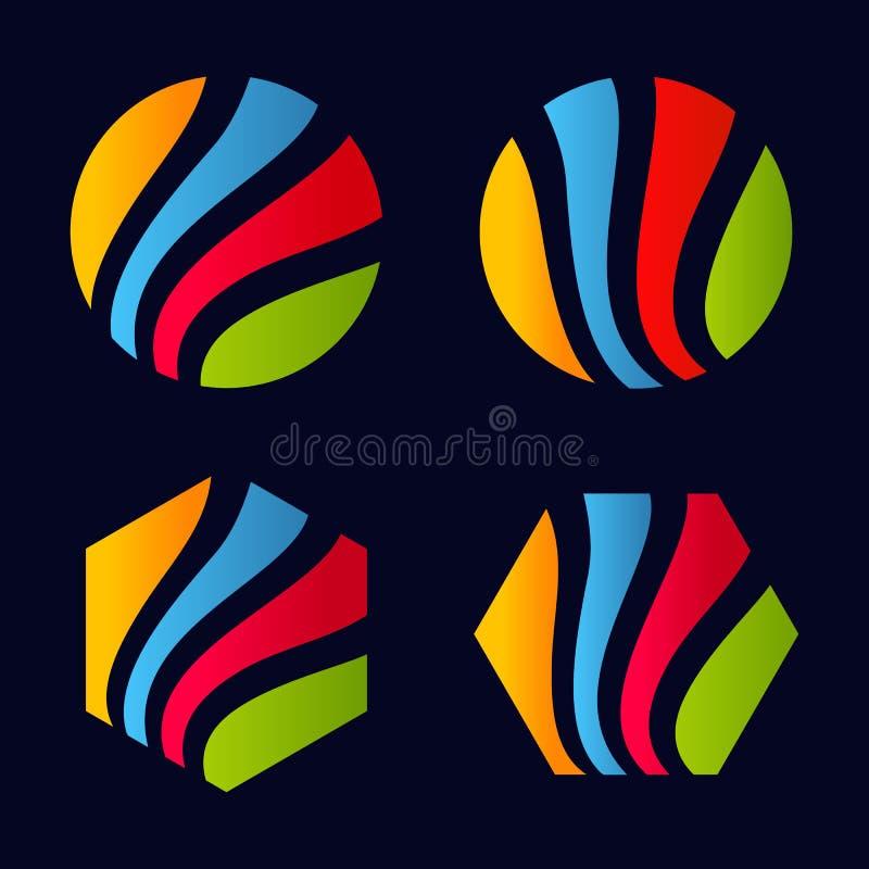 Het geïsoleerde abstracte kleurrijke gestreepte geometrische ronde de vormembleem en zeshoeken plaatsen op zwarte vectorillustrat vector illustratie