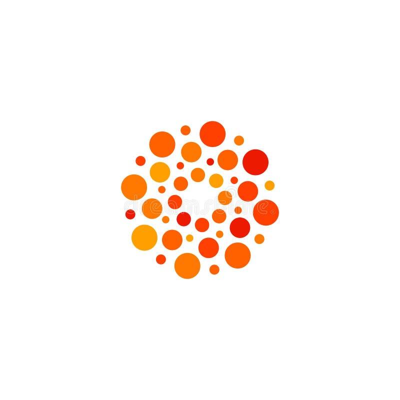 Het geïsoleerde abstracte ronde embleem van de vorm oranje en rode kleur, gestippelde gestileerde zon logotype op witte vector al royalty-vrije illustratie