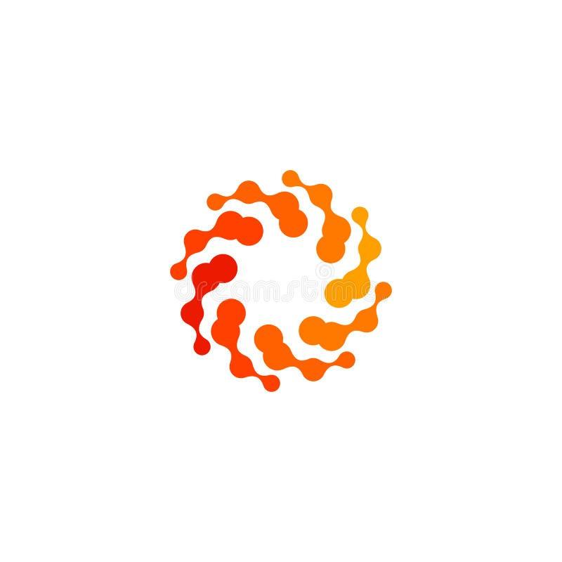 Het geïsoleerde abstracte ronde embleem van de vorm oranje kleur, gestileerde zon logotype op witte achtergrond, wervelt vectoril stock illustratie