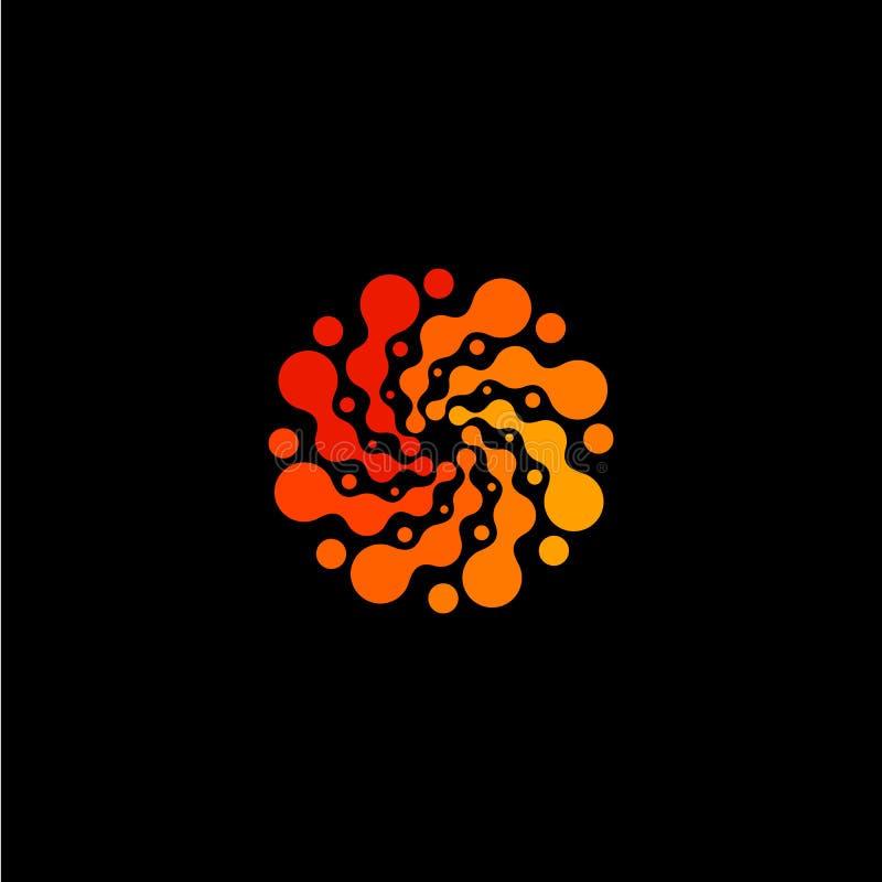 Het geïsoleerde abstracte ronde embleem van de vorm oranje kleur, gestippelde gestileerde zon logotype op zwarte achtergrond, wer royalty-vrije illustratie