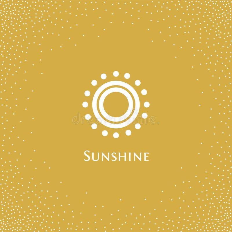 Het geïsoleerde abstracte ronde embleem van de vorm oranje kleur, zon logotype vectorillustratie op een gele achtergrond van punt vector illustratie