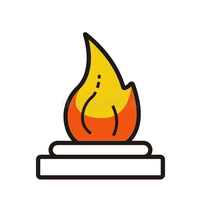 Het geïsoleerde beeld van de alcohholbrander met een vlam royalty-vrije illustratie