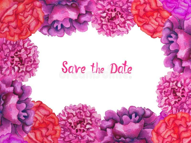 Het geïsoleerde de kaartontwerp van de kadergroet van roze en purpere pioenenbloemen, bewaart de Datuminschrijving op witte achte royalty-vrije illustratie