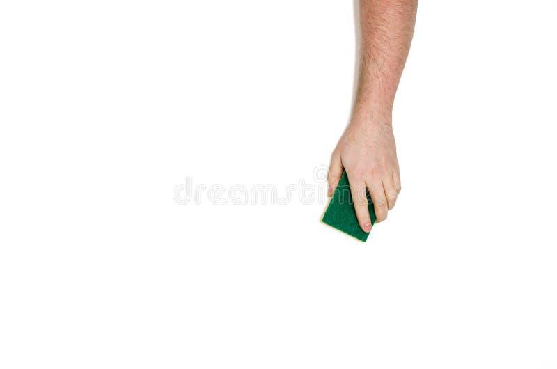 Het geïsoleerde hand schoonmaken tegen een witte achtergrond, hoogste mening stock afbeeldingen